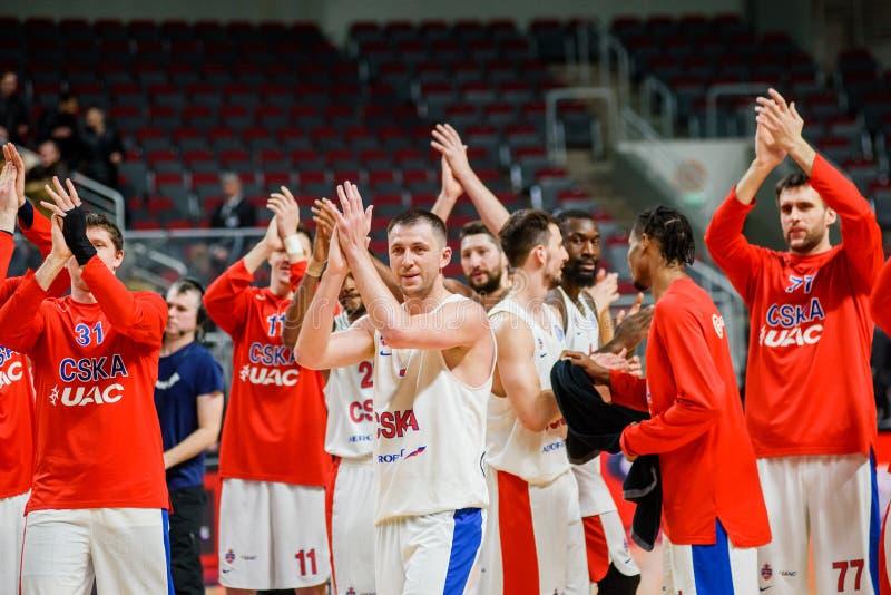 Team CSKA Moskau nach Spiel stockbilder
