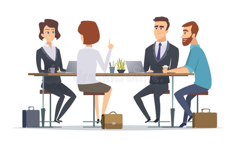 Team dat samenwerkt De managers van de commerciële van bureau sprekende volkeren van de medewerkerspersonen groepsdialoog vector  royalty-vrije illustratie