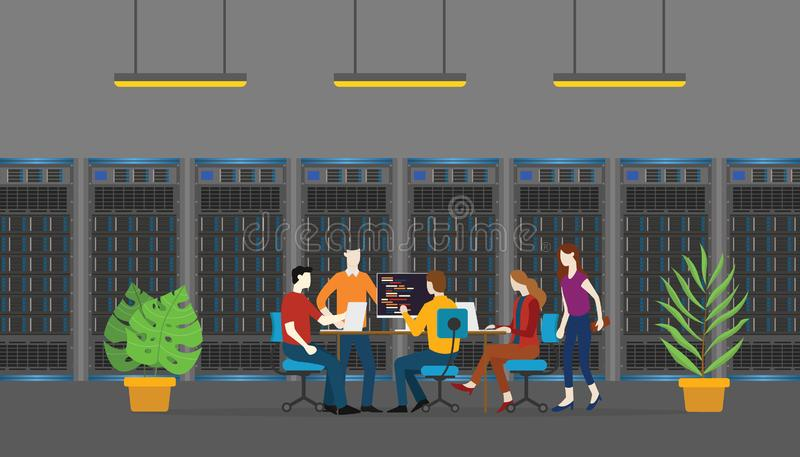 Team database server people monitoring and maintenance in room service - vector. Illustration royalty free illustration