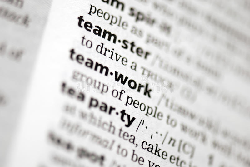 Team definition in close-up royalty free stock images