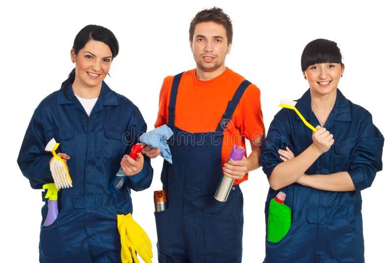 Team der Reinigungsarbeitskräfte stockbilder
