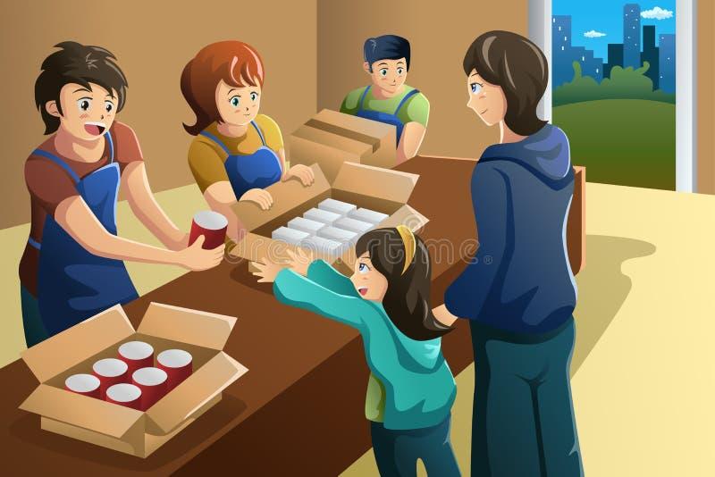 Team des Freiwilligen arbeitend in der Lebensmittelspendenmitte vektor abbildung