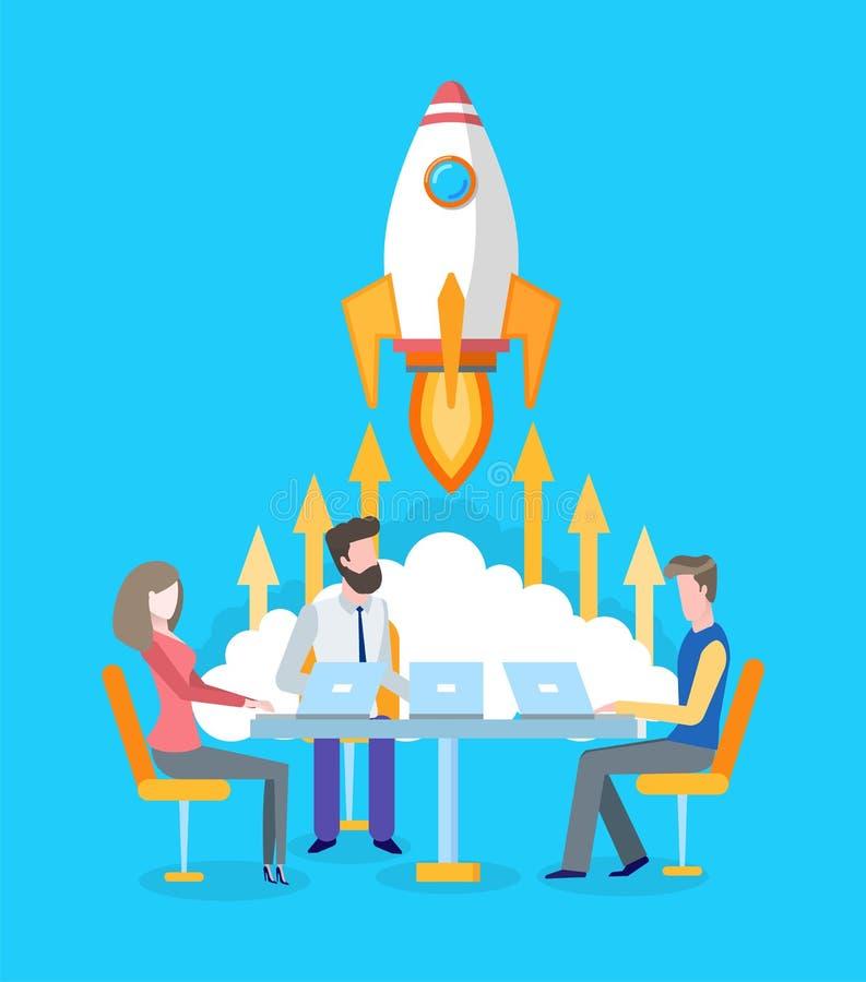 Team Developing Startup, nave espacial ou Rocket Start ilustração do vetor