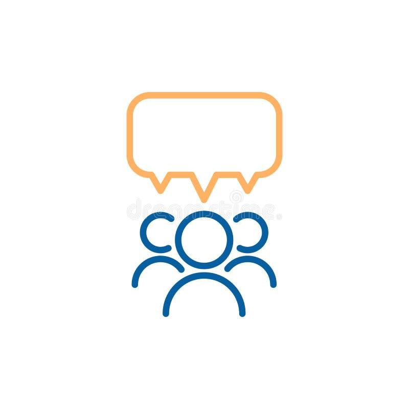 Team die Gruppe von Personen, die mit einer Spracheblase spricht und debattiert Dünne Linie Ikonendesignillustration des Vektors lizenzfreie abbildung