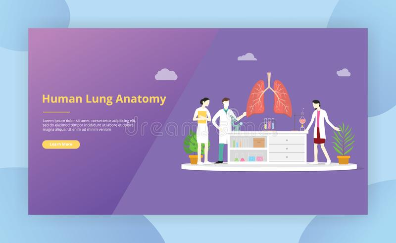 Team of doctor discuss and teaching human lung anatomy for website template design page - vector. Illustration vector illustration