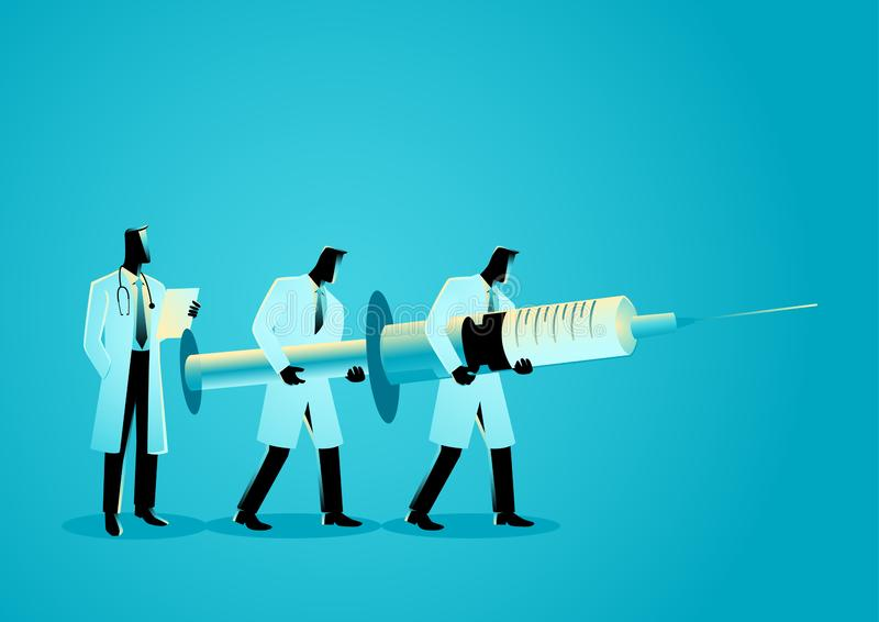 Team of doctors carrying giant needle. Anesthesiology Concept. Vector graphic illustration of team of doctors carrying giant needle. Anesthesiology Concept vector illustration