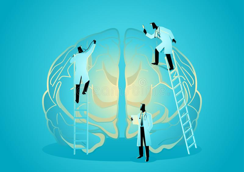 Team of doctors diagnose human brain. Neurologist Concept. Vector graphic illustration of team of doctors diagnose human brain. Neurologist Concept vector illustration