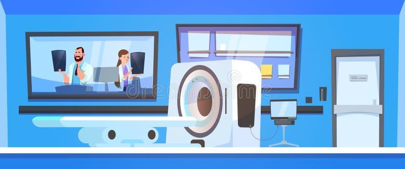 Team Of Doctors Examine Results de Mri que faz a varredura sobre o fundo do varredor da máquina ilustração stock