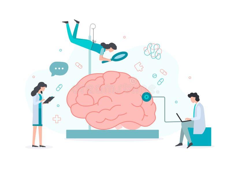 Mental health concept. A team of doctors explores the brain. Mental health concept. Flat vector illustration vector illustration