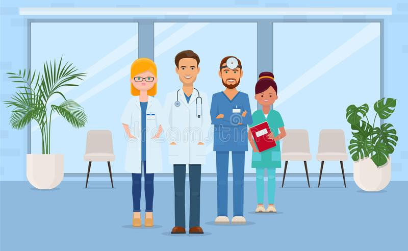 Team of doctors and nurses in hospital. Team of smiling doctors and nurses in hospital. Medical team concept. Vector illustration royalty free illustration