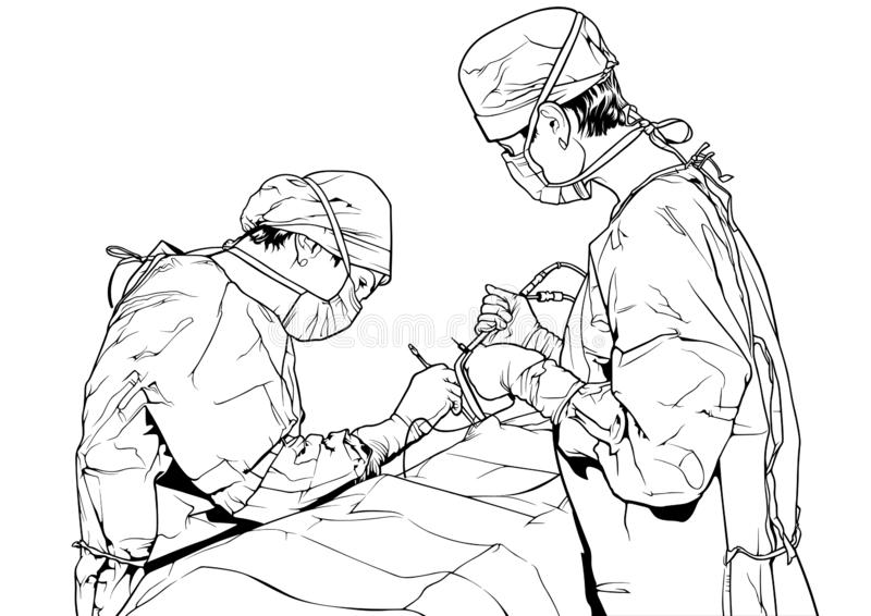Team Doctors in the Operating Room. Black and White Illustration with Medical Theme, Vector Graphic royalty free illustration