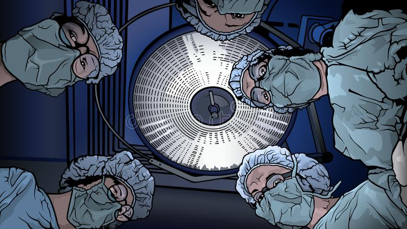 Team Doctors in the Operating Room. Colored Illustration with Medical Theme, Vector Graphic vector illustration