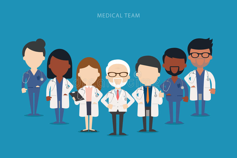 Team of doctors and other hospital workers stand together. Vector stock illustration