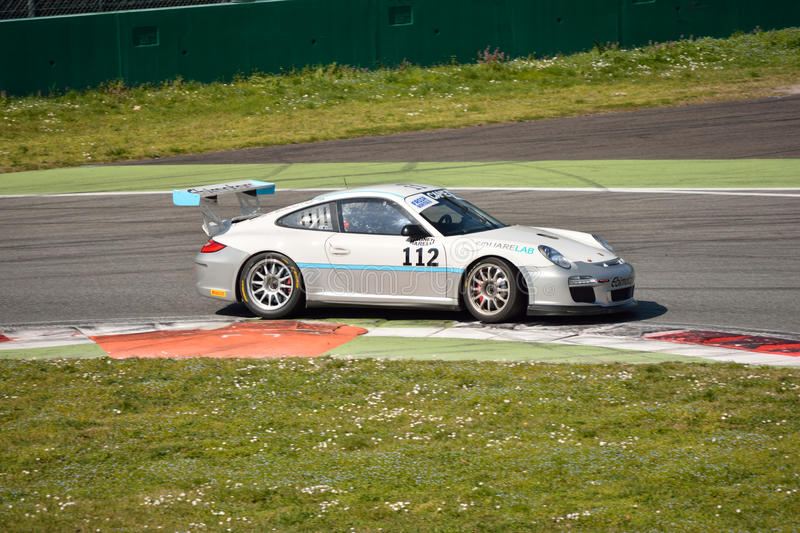 Team Ebimotors Porsche 911 (997) GT3 Cup at Monza royalty free stock image