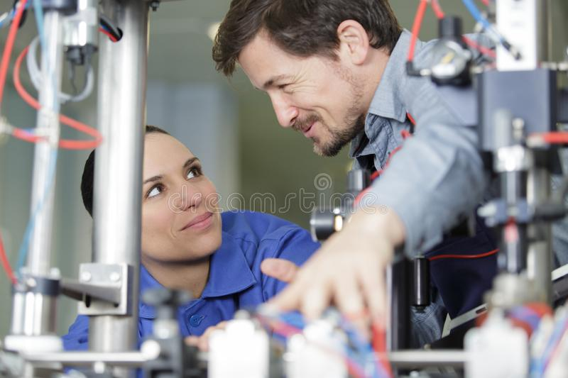 Team electricians working together royalty free stock image
