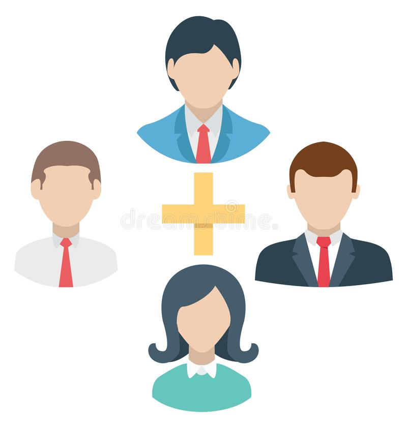 Team, employee and Business network isolated which can be easily edit or modified stock illustration