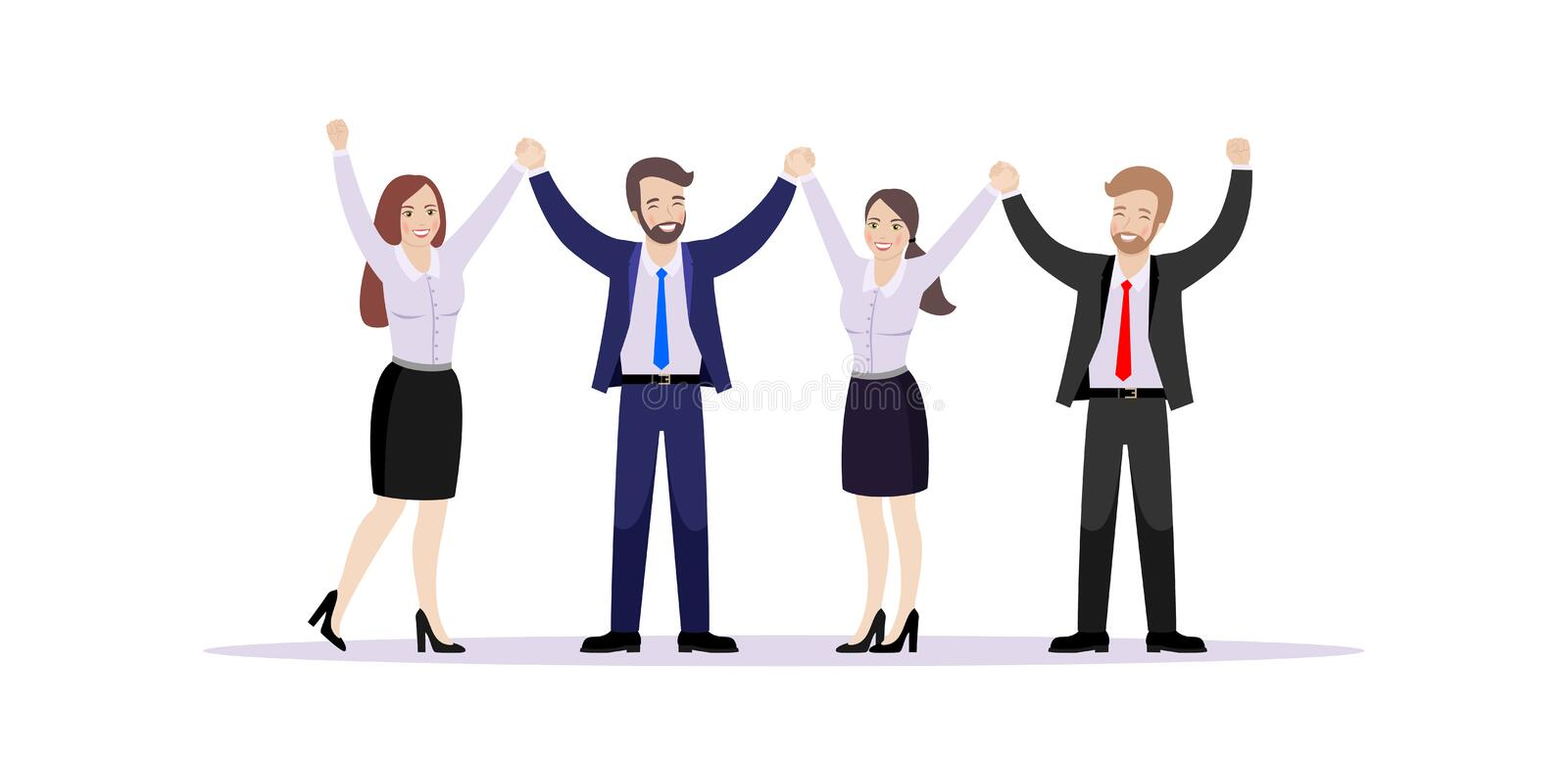 A team of employees hold hands rejoicing success. A team of happy employees stand together holding hands. Vector illustration on white background stock illustration