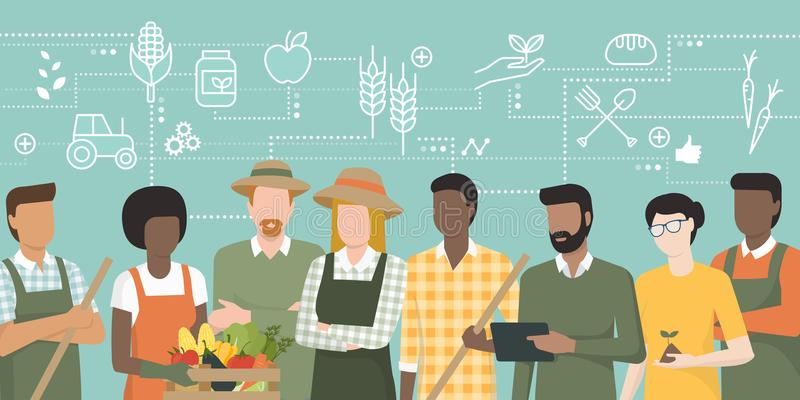Team of farmers working together. Multiethnic team of farmers working together and connecting with a tablet, network of concepts on the top: agriculture and food vector illustration