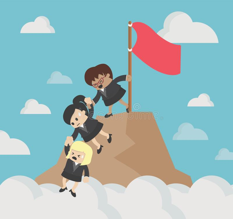 Team of female businessmen who are helping business friends who are climbing in agony royalty free illustration