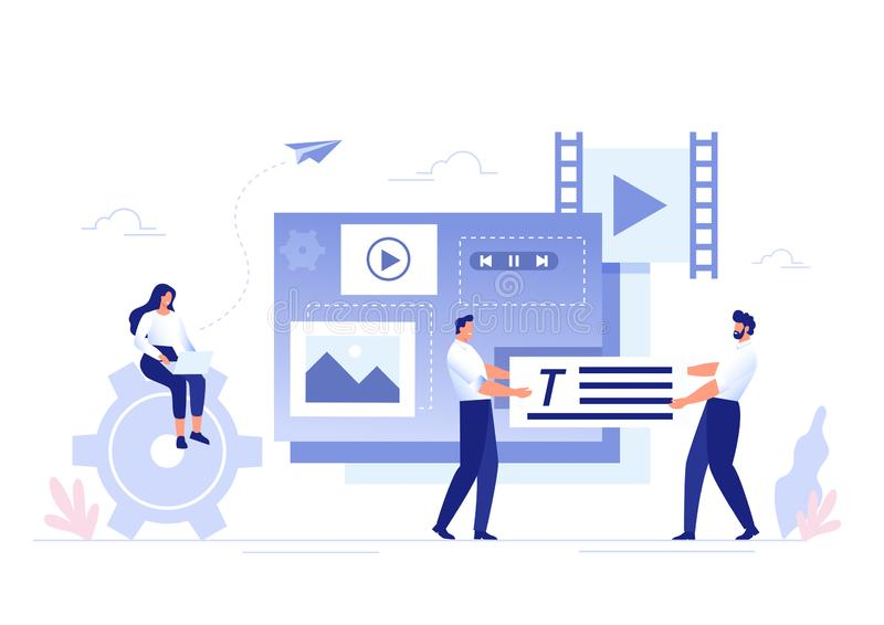 SMM, Content Management and Blogging concept in flat design. Creating, marketing and sharing of digital - vector royalty free illustration