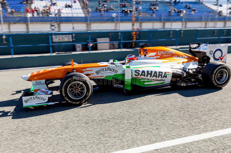 Team Force India F1, Jules Bianchi, 2013 royalty free stock image