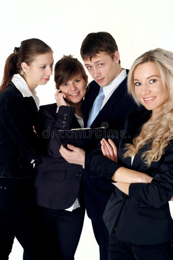 Download A Team Of Four People Communicate Stock Image - Image: 23646339