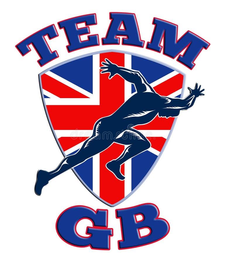 Team GB Runner Sprinter Great Britain Flag