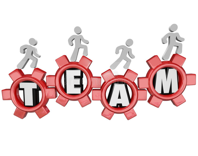 Team Gears Workers Marching Together Teamwork. A group of people or workers marching on gears with the word Team to symbolize teamwork, organization stock illustration