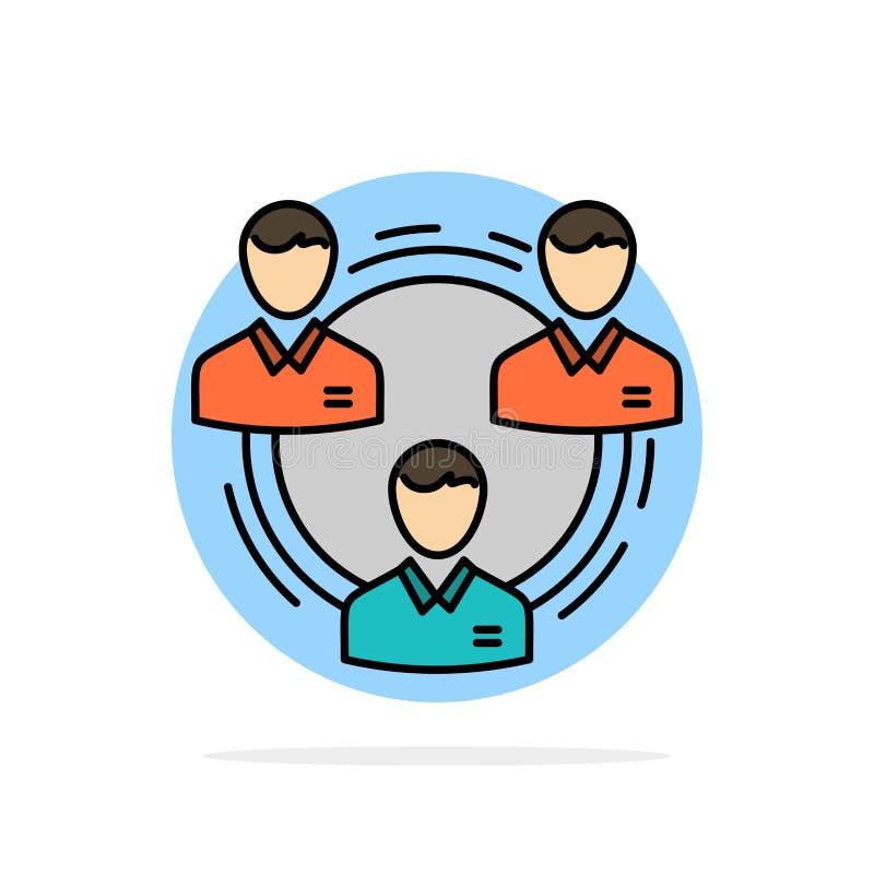 Team, Geschäft, Kommunikation, Hierarchie, Leute, sozial, flache Ikone Farbe des Struktur-Zusammenfassungs-Kreis-Hintergrundes vektor abbildung
