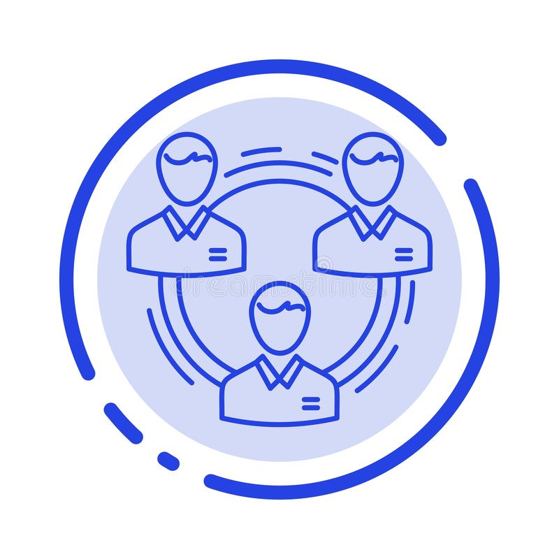 Team, Geschäft, Kommunikation, Hierarchie, Leute, sozial, Linie Ikone der Struktur-blauen punktierten Linie lizenzfreie abbildung