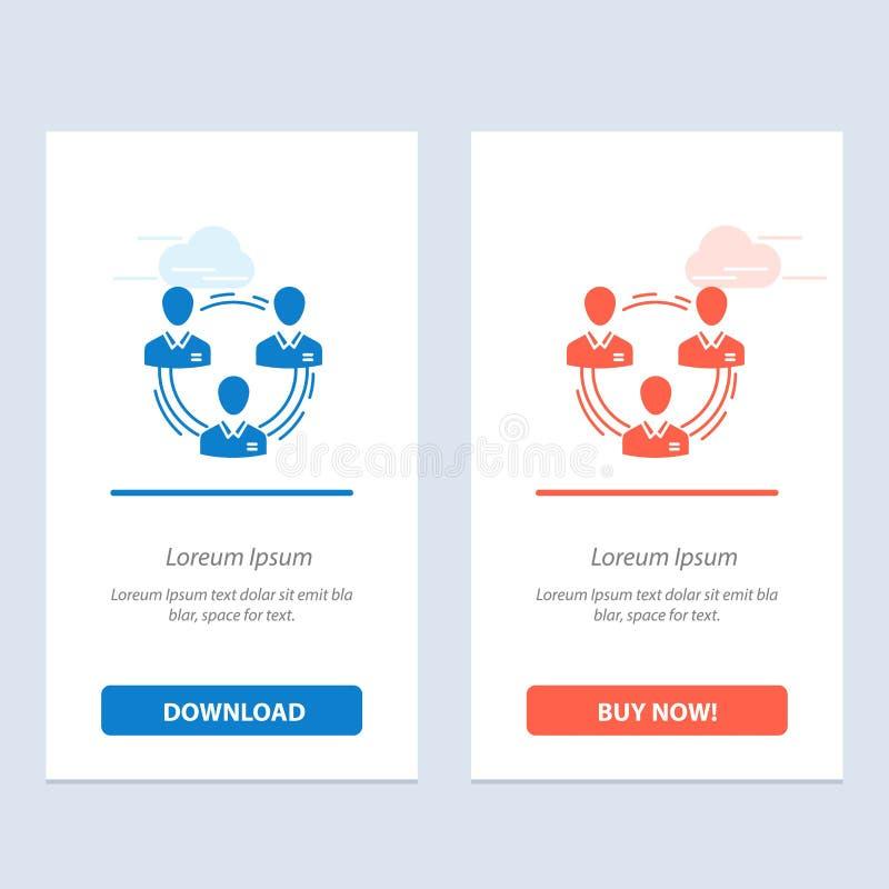 Team, Geschäft, Kommunikation, Hierarchie, Leute, Sozial-, Struktur-Blau und rotes Download und Netz Widget-Karten-Schablone jetz stock abbildung