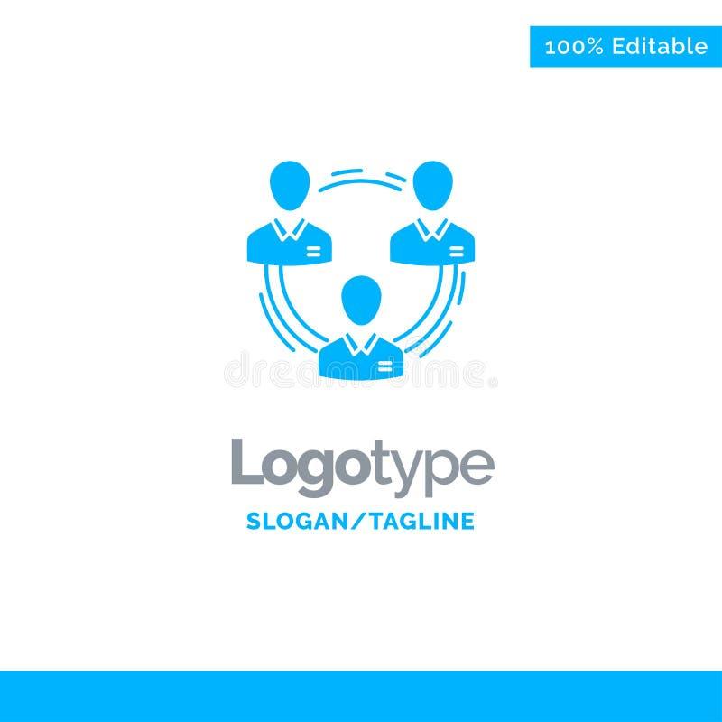 Team, Geschäft, Kommunikation, Hierarchie, Leute, sozial, Struktur blauer fester Logo Template Platz f?r Tagline stock abbildung