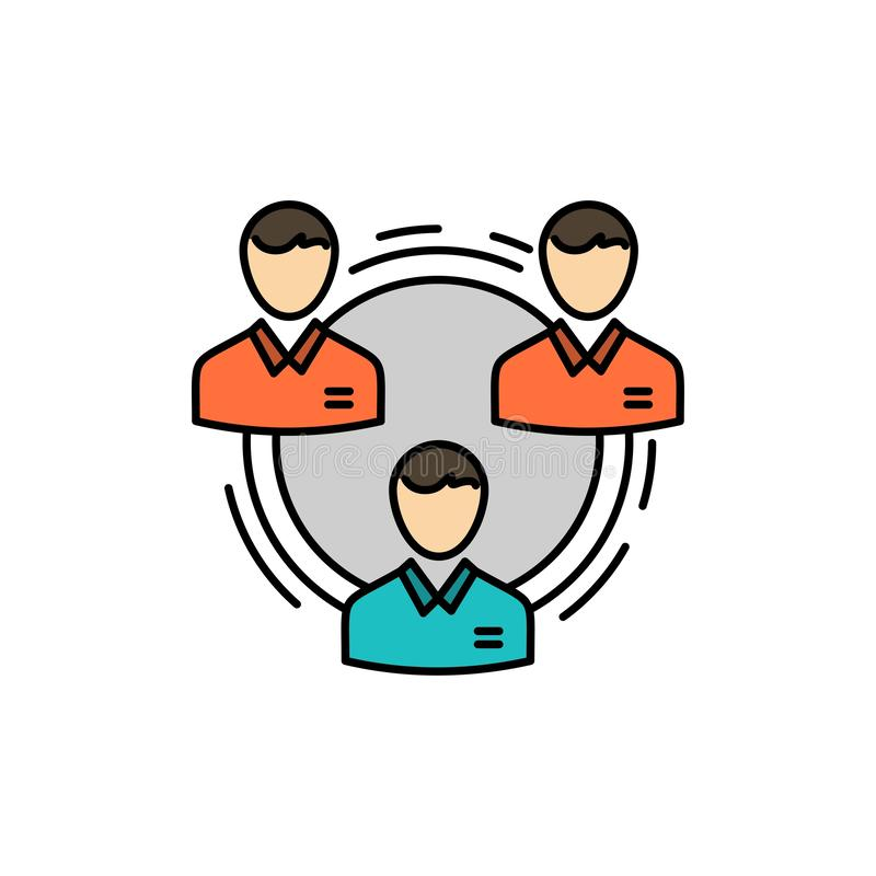 Team, Geschäft, Kommunikation, Hierarchie, Leute, sozial, Struktur-flache Farbikone Vektorikonen-Fahne Schablone vektor abbildung