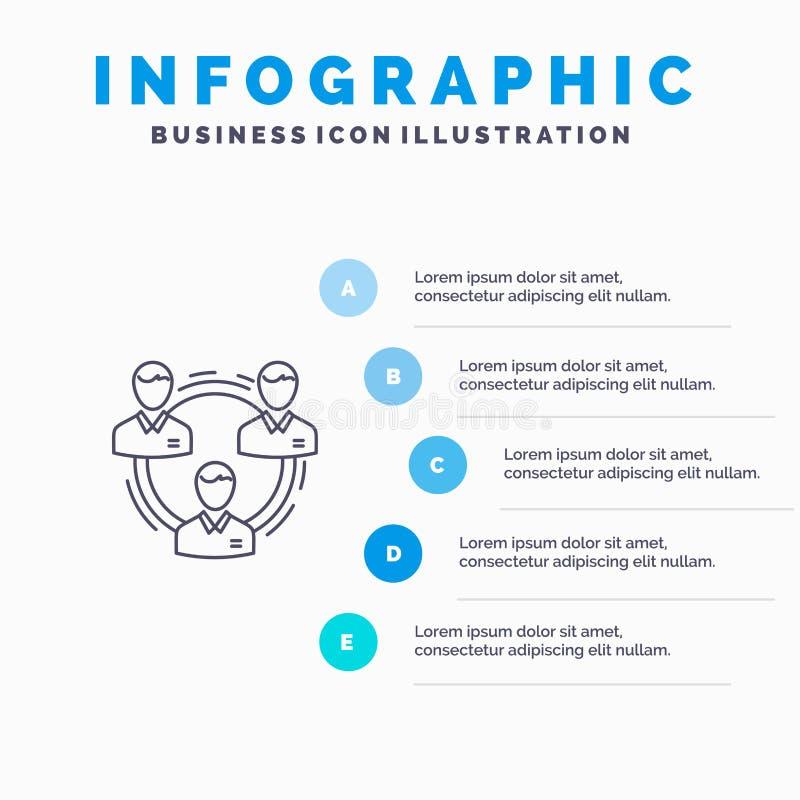 Team, Geschäft, Kommunikation, Hierarchie, Leute, sozial, Struktur-Linie Ikone mit Hintergrund infographics Darstellung mit 5 Sch stock abbildung
