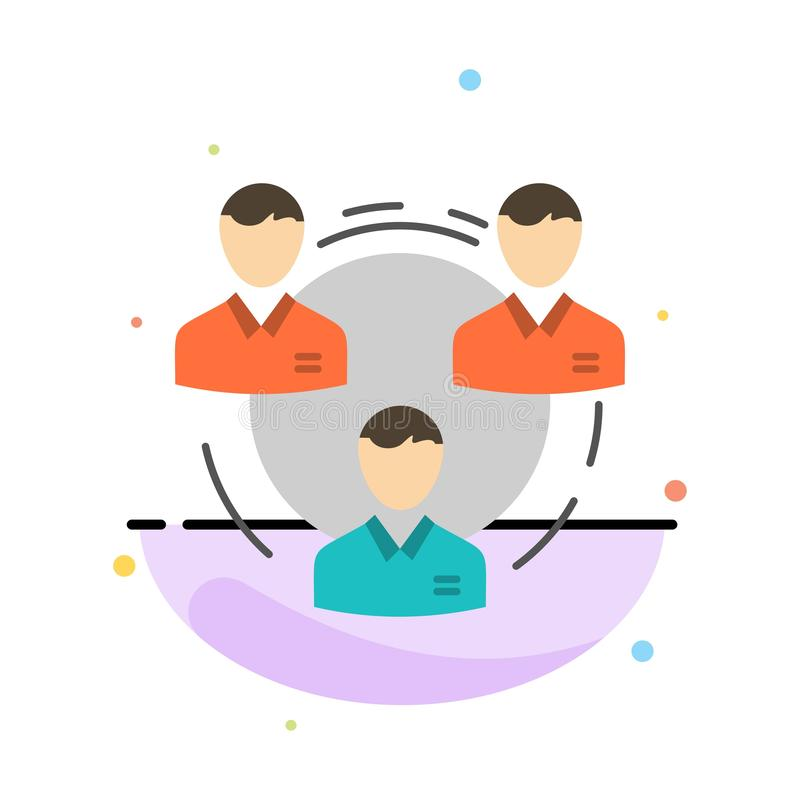 Team, Geschäft, Kommunikation, Hierarchie, Leute, sozial, Struktur-Zusammenfassungs-flache Farbikonen-Schablone lizenzfreie abbildung