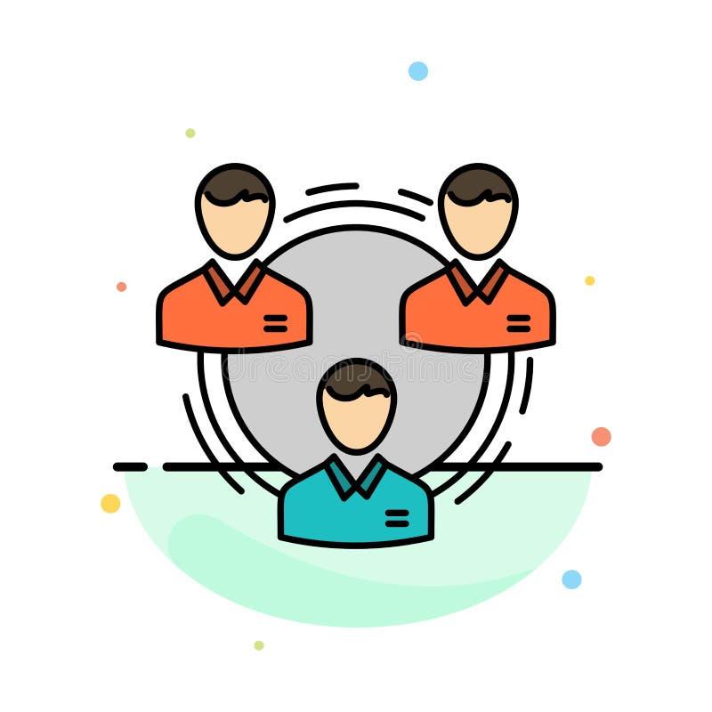 Team, Geschäft, Kommunikation, Hierarchie, Leute, sozial, Struktur-Zusammenfassungs-flache Farbikonen-Schablone stock abbildung