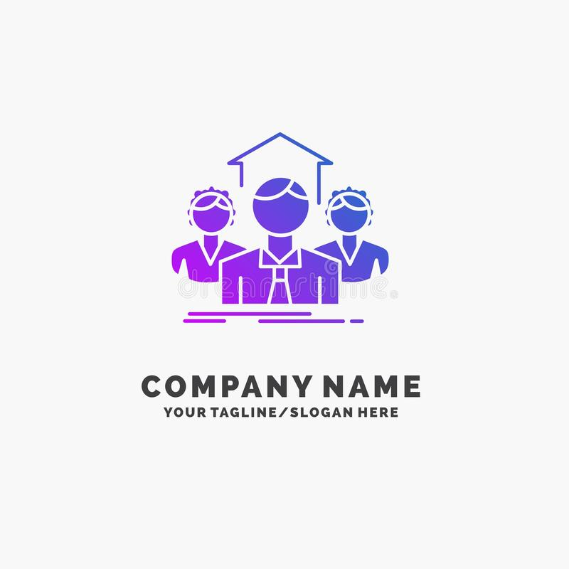 Team, Geschäft, Teamwork, Gruppe, purpurrotes Geschäft Logo Template treffend Platz f?r Tagline stock abbildung