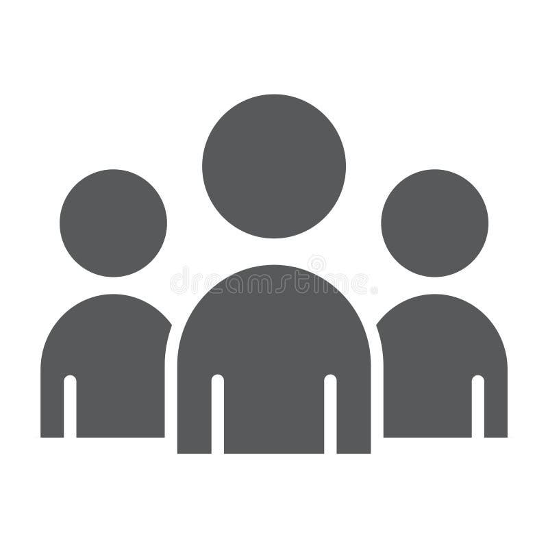 Team glyph pictogram, zaken en het werk, groepsteken vector illustratie