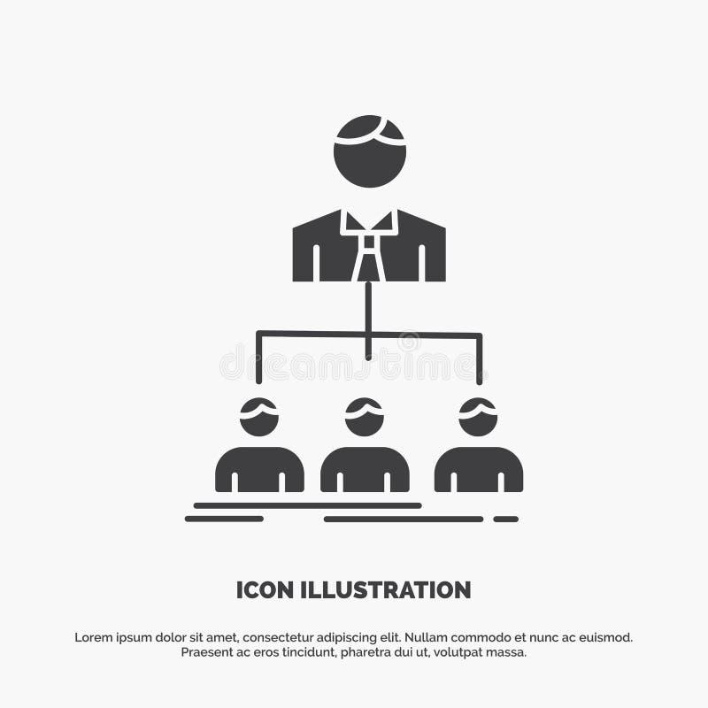 team, groepswerk, organisatie, groep, bedrijfpictogram glyph vector grijs symbool voor UI en UX, website of mobiele toepassing stock illustratie