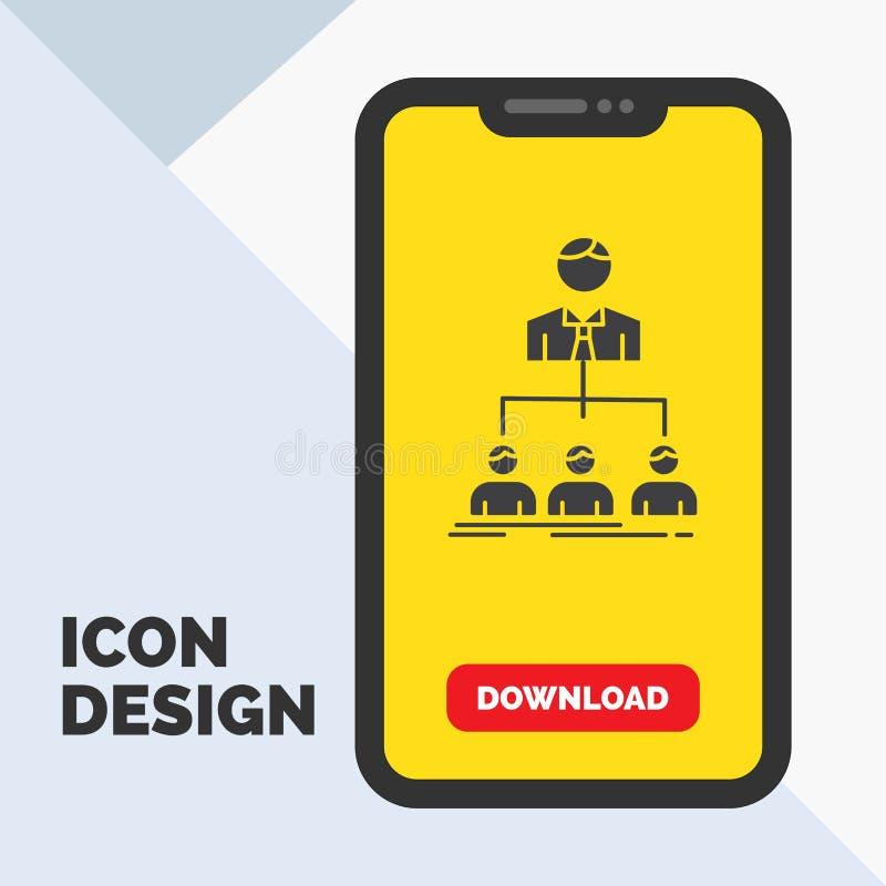 team, groepswerk, organisatie, groep, het Pictogram van bedrijfglyph in Mobiel voor Downloadpagina Gele achtergrond royalty-vrije illustratie