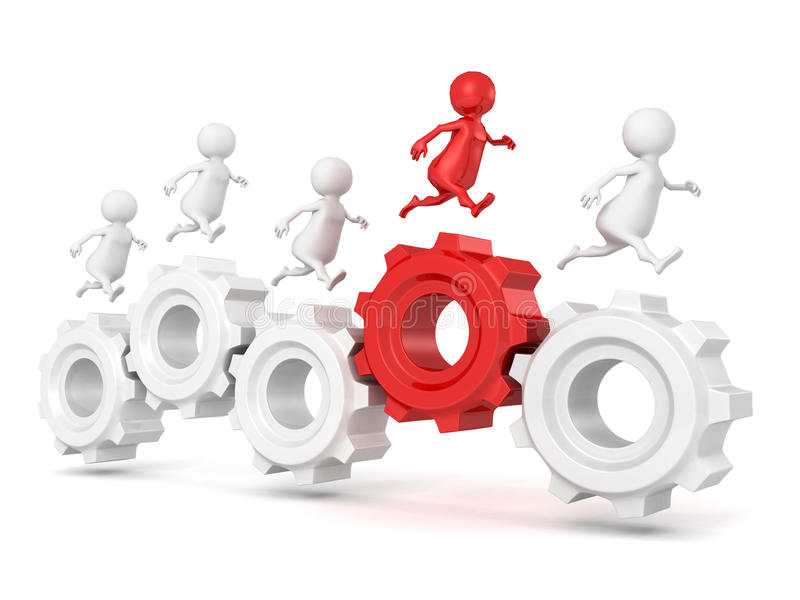 Team group with red leader 3d man run on connected work gears. 3d vector illustration