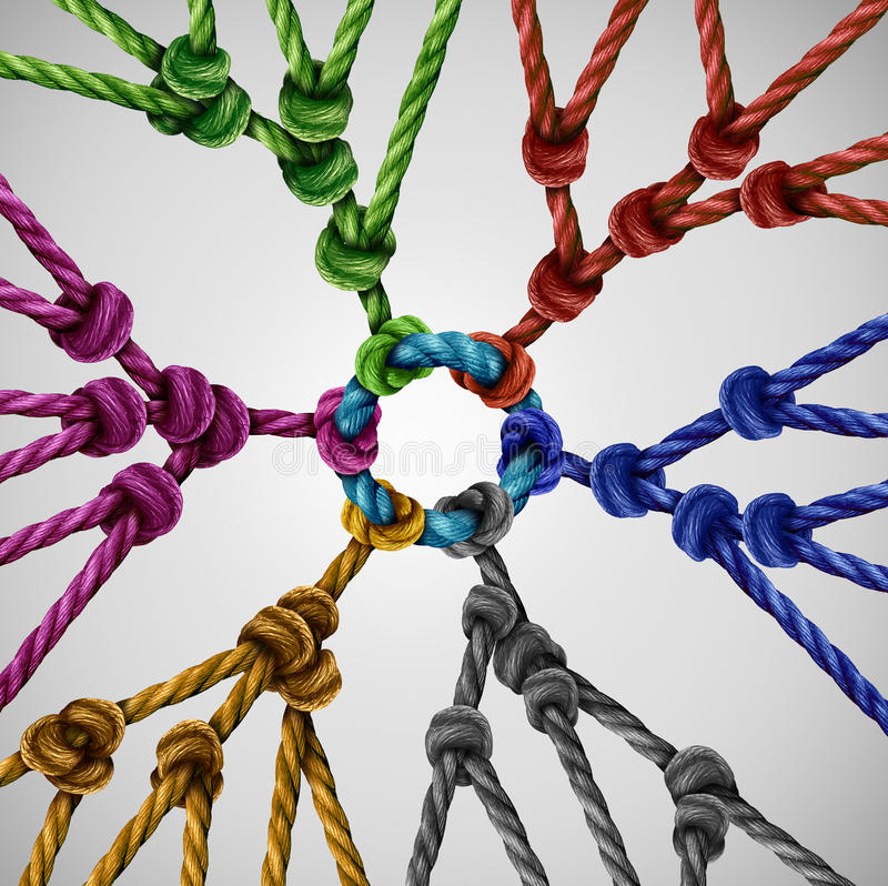 Team Groups Network. As individual diverse teams coming together connected to a central point as an abstract communication concept with linked ropes of vector illustration
