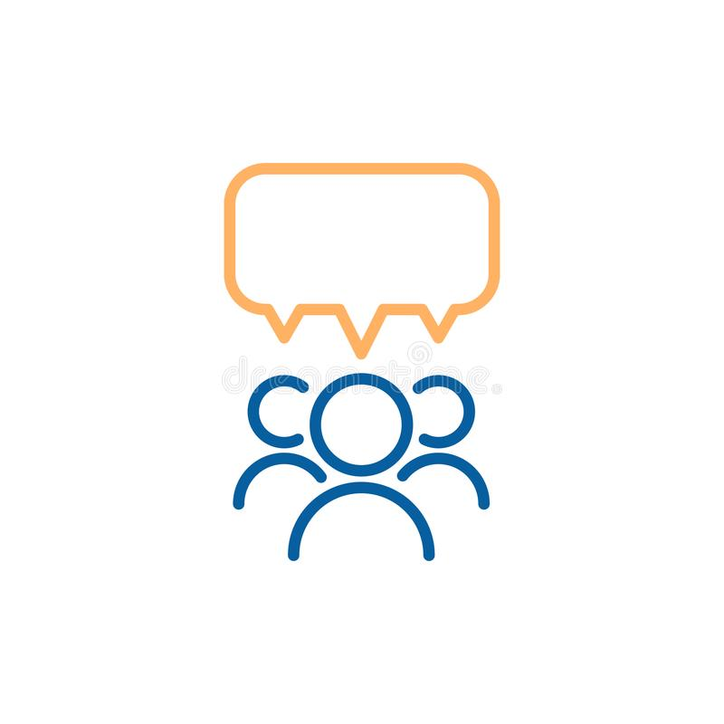 Team grupp människor som talar och debatterar med en anförandebubbla Tunn linje symbolsdesignillustration för vektor royaltyfri illustrationer