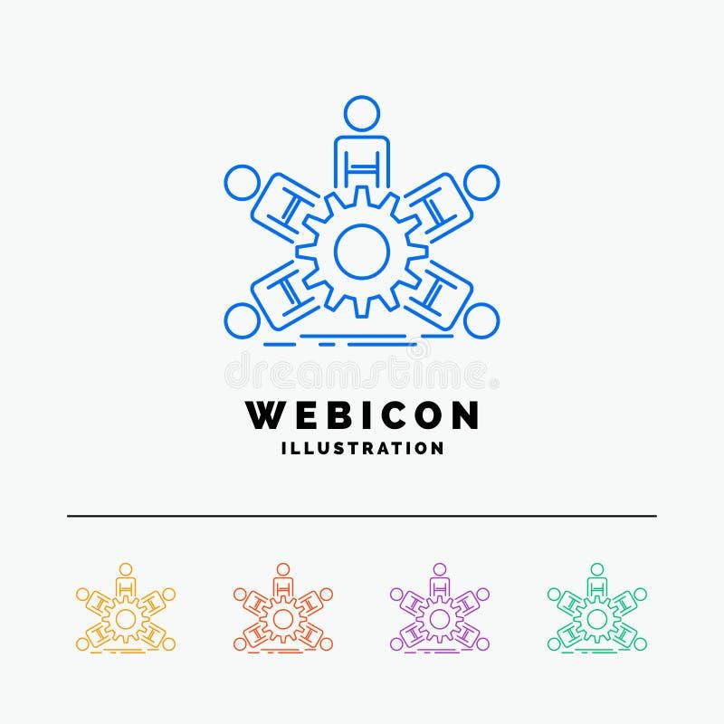 Team, Gruppe, Führung, Geschäft, Teamwork 5 Farblinie-Netz-Ikonen-Schablone lokalisiert auf Weiß Auch im corel abgehobenen Betrag vektor abbildung