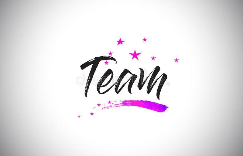 Team Handwritten Word Font con il vettore vibrante dei coriandoli e di Violet Purple Stars illustrazione di stock