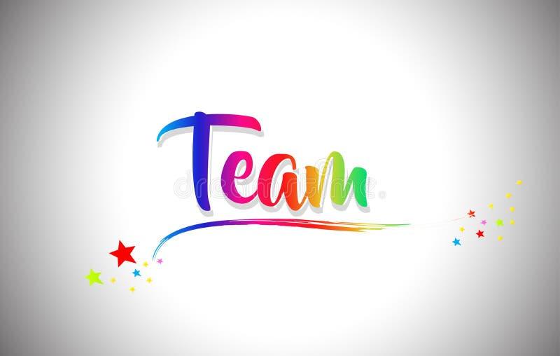 Team Handwritten Word Text med regnbågefärger och vibrerande Swoosh royaltyfri illustrationer