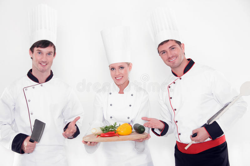 Download Team of happy chefs stock photo. Image of compliment - 24121354