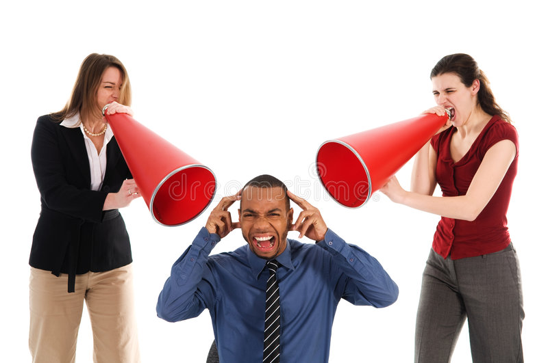 Team Harrassment. Business people with megaphone harassing colleague stock photo
