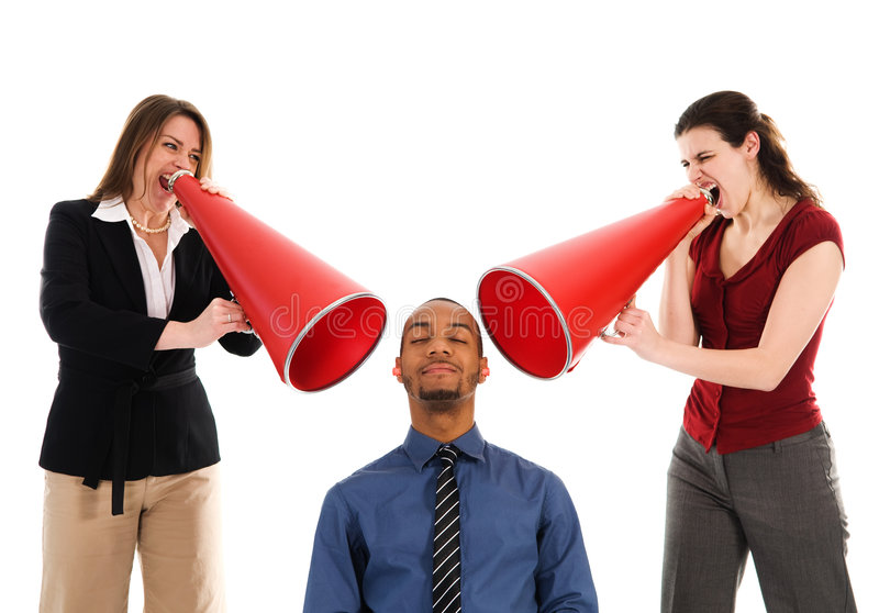 Team Harrassment. Business people with megaphone harassing colleague royalty free stock photos