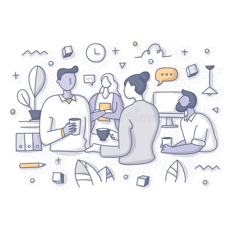 Team Having Coffee Break at Work Concept. Team of coworkers having conversation, sharing ideas during coffee break at work. Office lunchtime concept. Doodle royalty free illustration